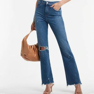 EXPRESS High Waisted Ripped Raw Hem 90s Bootcut Jeans 4 R NWT